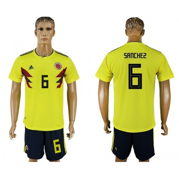 Colombia #6 Sanchez Home Soccer Country Jersey