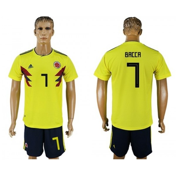 Colombia #7 Bacca Home Soccer Country Jersey