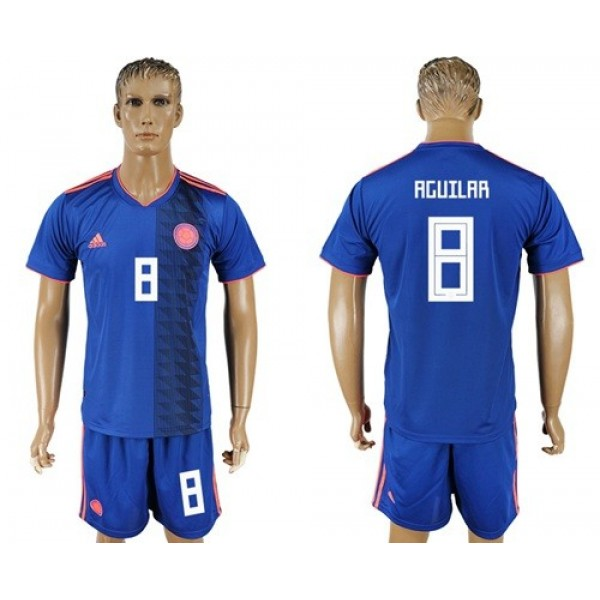 Colombia #8 Aguilar Away Soccer Country Jersey