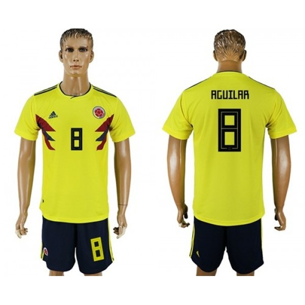 Colombia #8 Aguilar Home Soccer Country Jersey