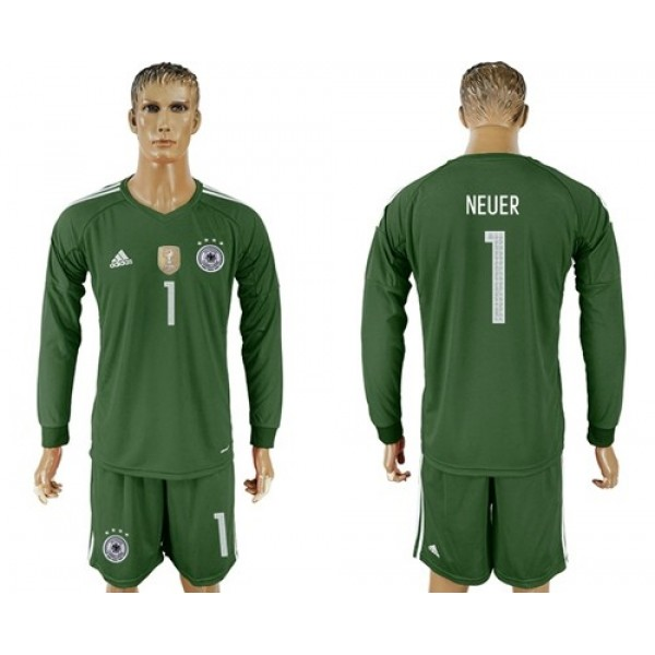 Germany #1 Neuer Army Green Goalkeeper Long Sleeves Soccer Country Jersey
