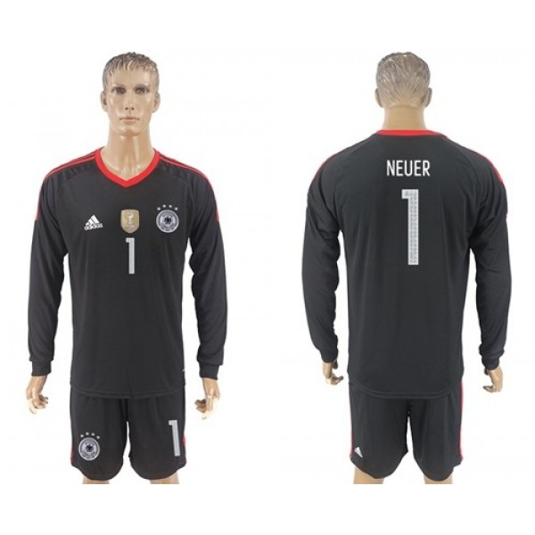 Germany #1 Neuer Black Goalkeeper Long Sleeves Soccer Country Jersey
