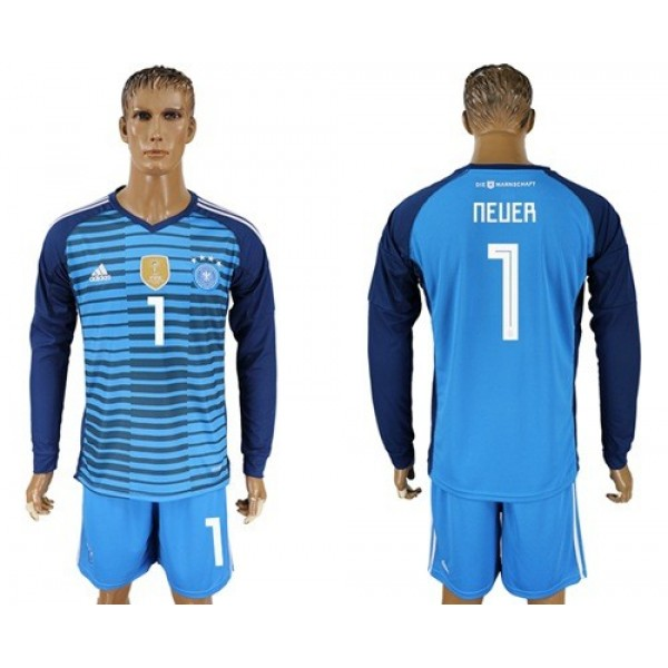 Germany #1 Neuer Blue Goalkeeper Long Sleeves Soccer Country Jersey
