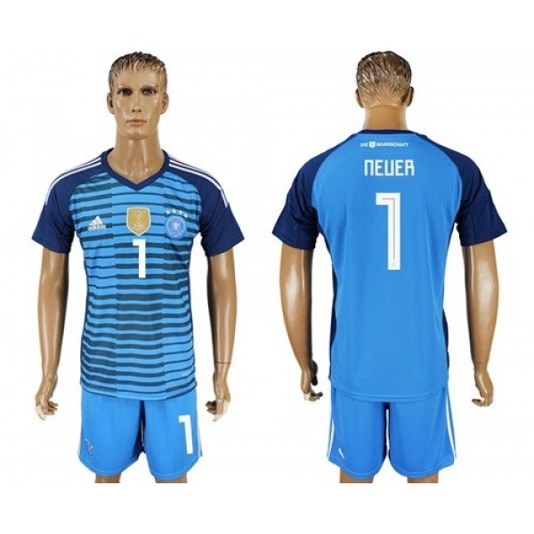 Germany #1 Neuer Blue Goalkeeper Soccer Country Jersey