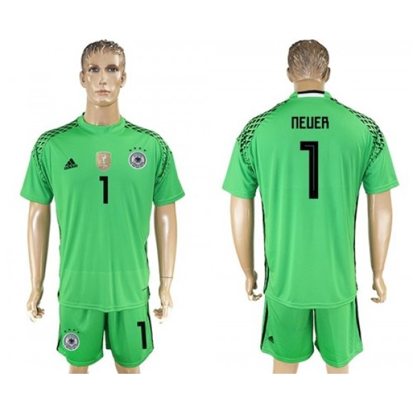 Germany #1 Neuer Green Goalkeeper Soccer Country Jersey