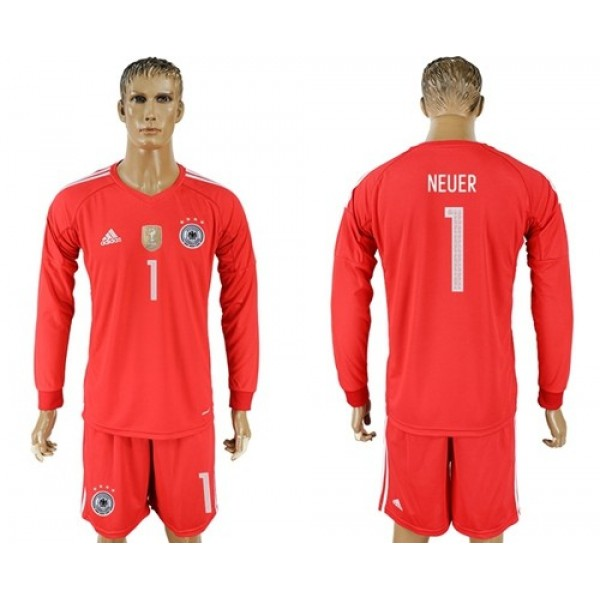 Germany #1 Neuer Red Goalkeeper Long Sleeves Soccer Country Jersey