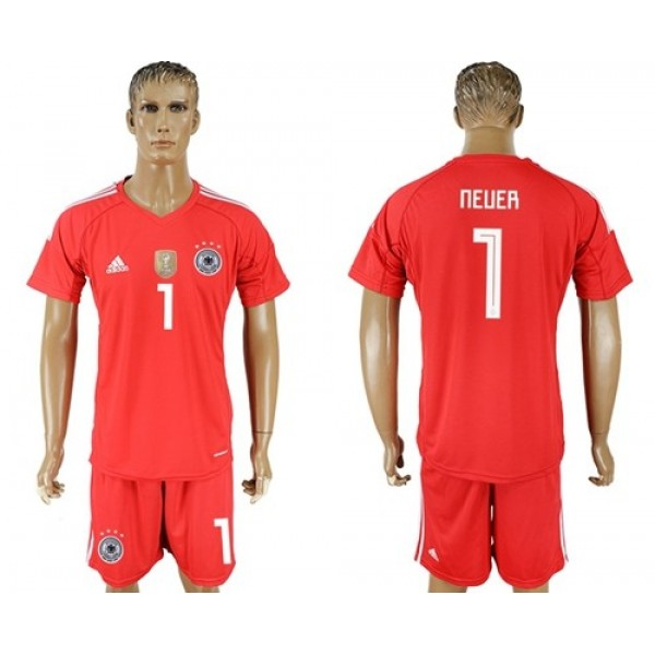 Germany #1 Neuer Red Goalkeeper Soccer Country Jersey