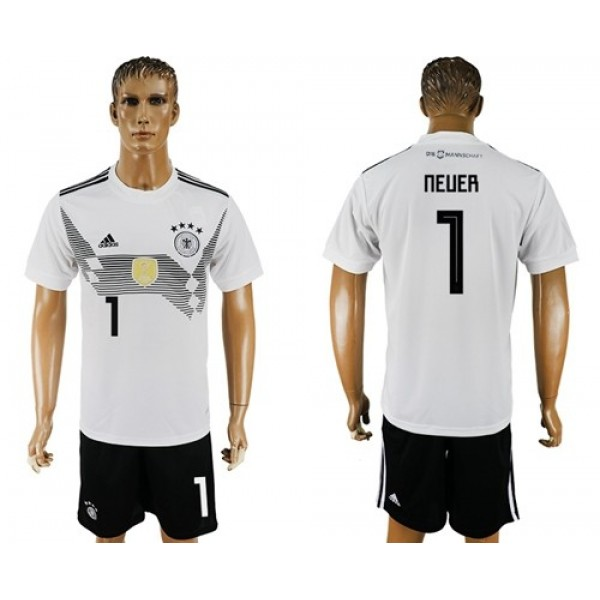 Germany #1 Neuer White Home Soccer Country Jersey
