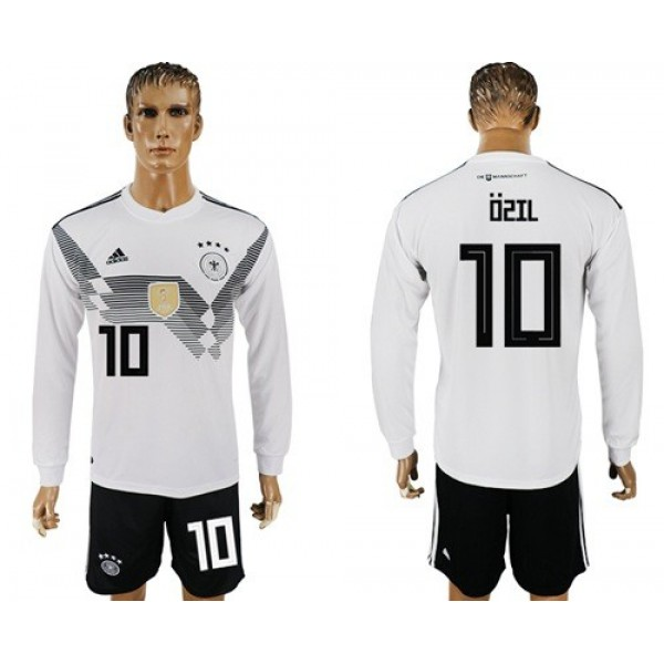 Germany #10 Ozil White Home Long Sleeves Soccer Country Jersey