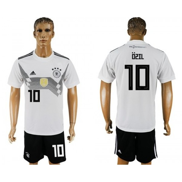 Germany #10 Ozil White Home Soccer Country Jersey