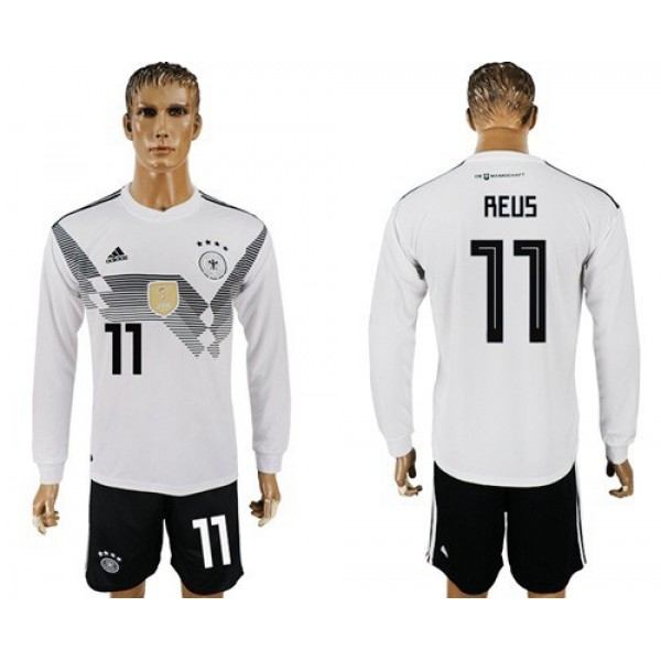 Germany #11 Reus White Home Long Sleeves Soccer Country Jersey