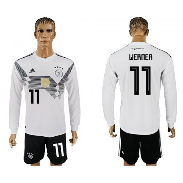 Germany #11 Werner White Home Long Sleeves Soccer Country Jersey