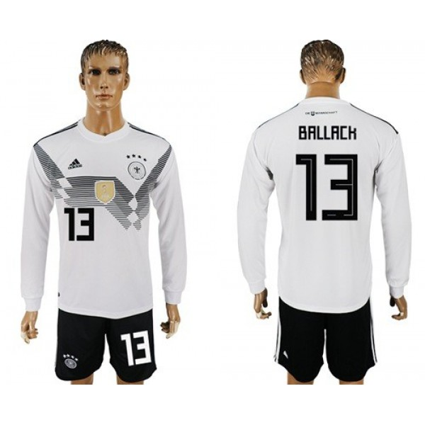 Germany #13 Ballack White Home Long Sleeves Soccer Country Jersey