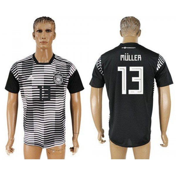 Germany #13 Muller Away Soccer Country Jersey
