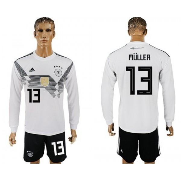 Germany #13 Muller White Home Long Sleeves Soccer Country Jersey