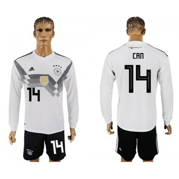 Germany #14 Can White Home Long Sleeves Soccer Country Jersey