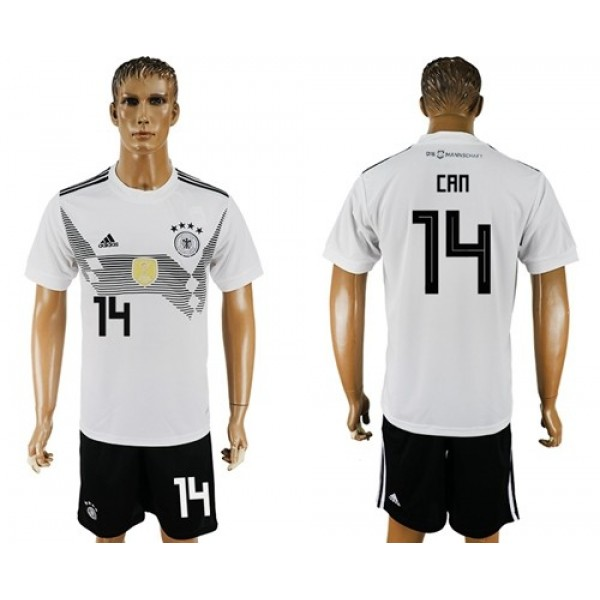 Germany #14 Can White Home Soccer Country Jersey