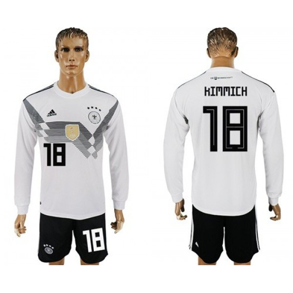 Germany #18 Kimmich White Home Long Sleeves Soccer Country Jersey