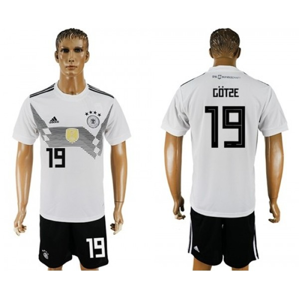 Germany #19 Gotze White Home Soccer Country Jersey