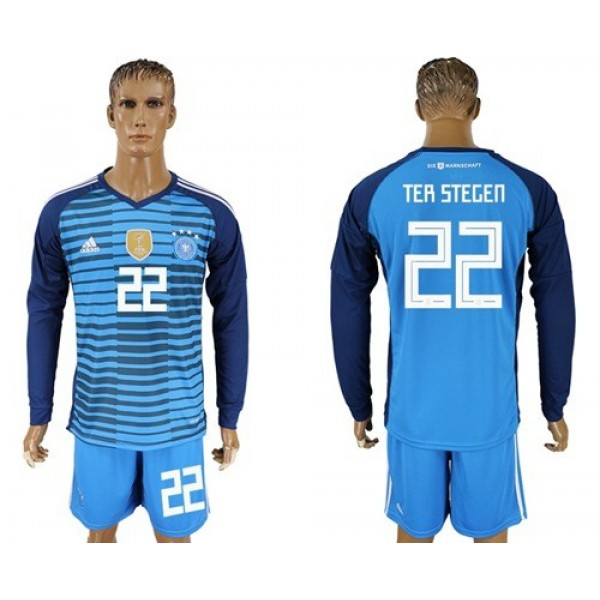 Germany #22 Ter Stegen Blue Goalkeeper Long Sleeves Soccer Country Jersey