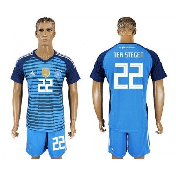 Germany #22 Ter Stegen Blue Goalkeeper Soccer Country Jersey