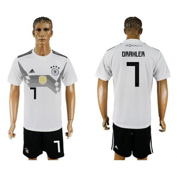 Germany #7 Draxler White Home Soccer Country Jersey