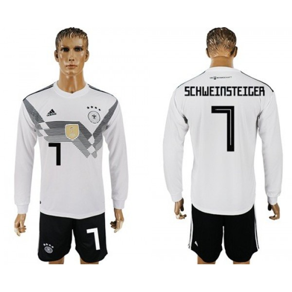 Germany #7 Schweinsteiger White Home Long Sleeves Soccer Country Jersey