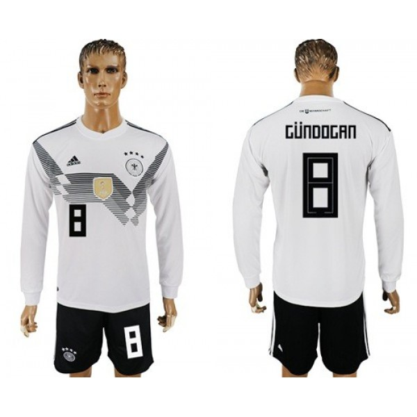 Germany #8 Gundogan White Home Long Sleeves Soccer Country Jersey
