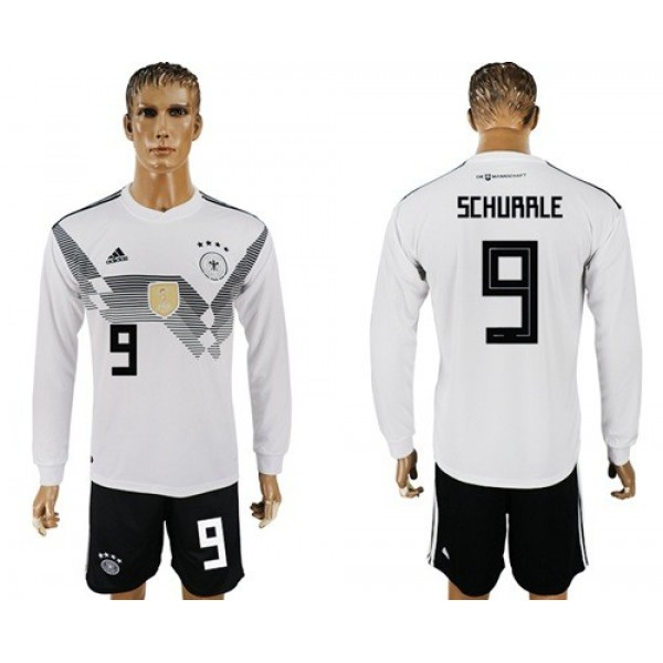 Germany #9 Schurrle White Home Long Sleeves Soccer Country Jersey