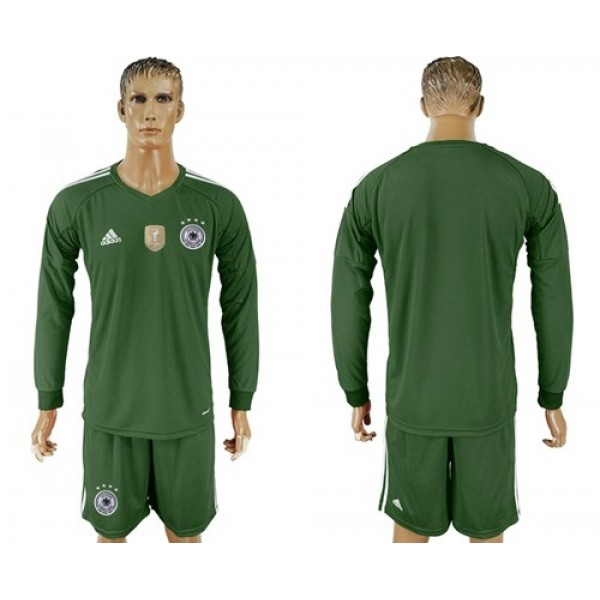 Germany Blank Army Green Goalkeeper Long Sleeves Soccer Country Jersey