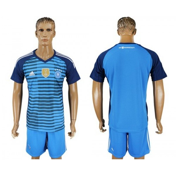Germany Blank Blue Goalkeeper Soccer Country Jersey