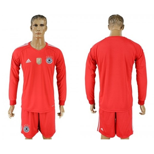 Germany Blank Red Goalkeeper Long Sleeves Soccer Country Jersey