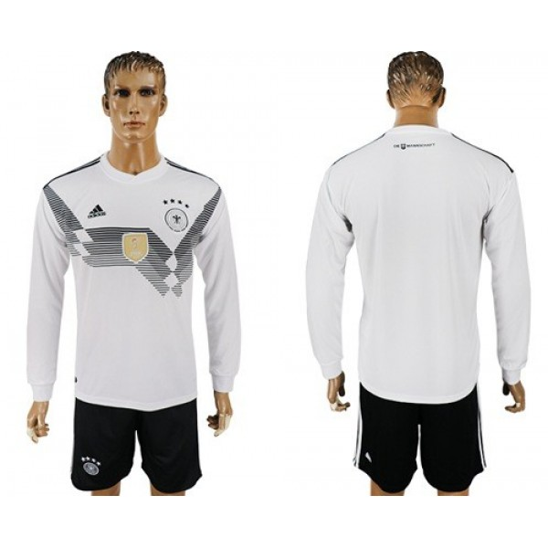 Germany Blank White Home Long Sleeves Soccer Country Jersey