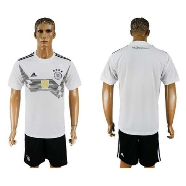 Germany Blank White Home Soccer Country Jersey