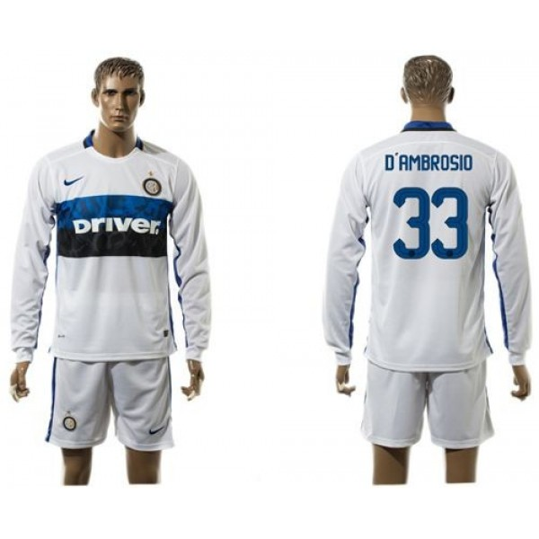 Inter Milan #33 D'Ambrosio Home Long Sleeves Soccer Club Jersey
