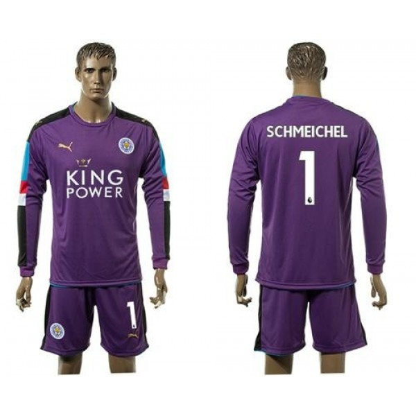 Leicester City #1 Schmeichel Purple Goalkeeper Long Sleeves Soccer Club Jersey