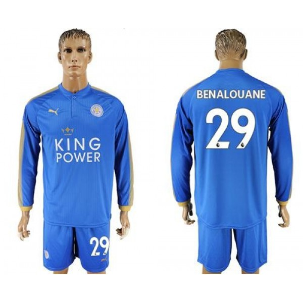 Leicester City #29 Benalouane Home Long Sleeves Soccer Club Jersey