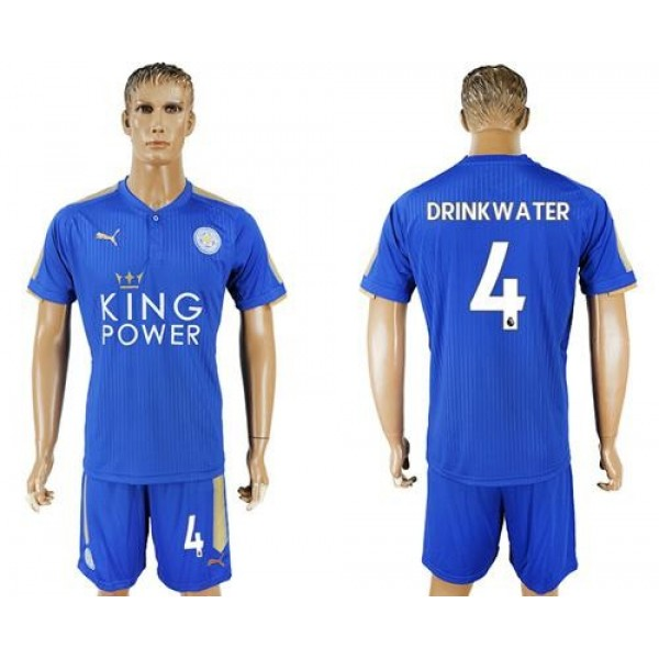 Leicester City #4 Drinkwater Home Soccer Club Jersey