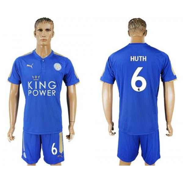 Leicester City #6 Huth Home Soccer Club Jersey