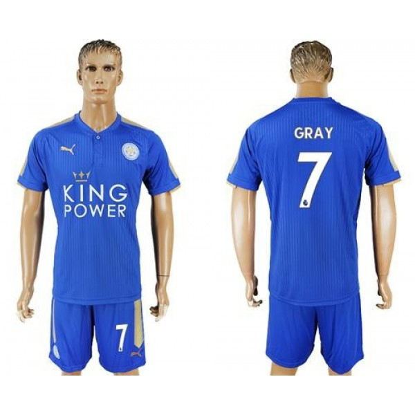 Leicester City #7 Gray Home Soccer Club Jersey