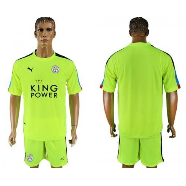 Leicester City Blank Shiny Green Goalkeeper Soccer Club Jersey
