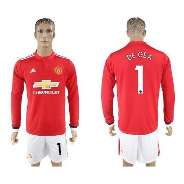 Manchester United #1 De Gea Red Home Long Sleeves Soccer Club Jersey