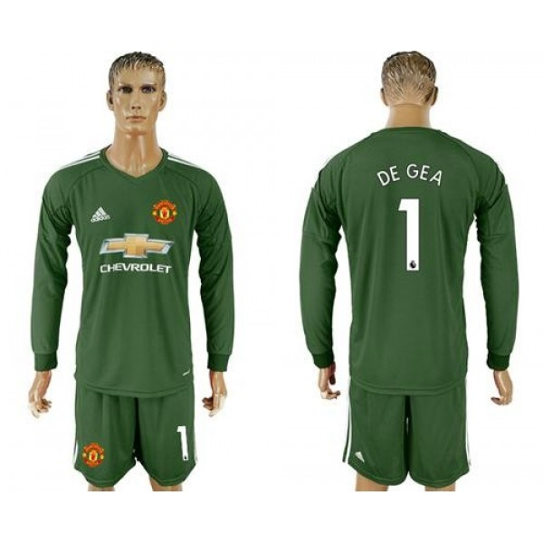 Manchester United #1 De Gea Green Goalkeeper Long Sleeves Soccer Club Jersey