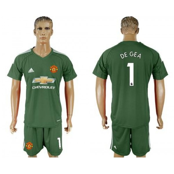 Manchester United #1 De Gea Green Goalkeeper Soccer Club Jersey