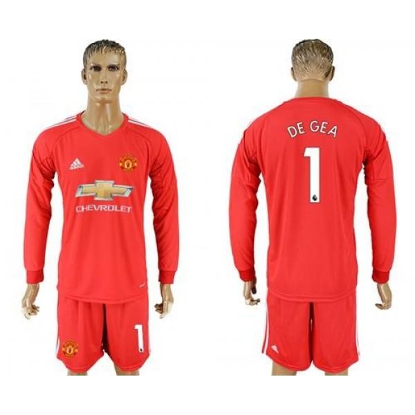 Manchester United #1 De Gea Red Goalkeeper Long Sleeves Soccer Club Jersey