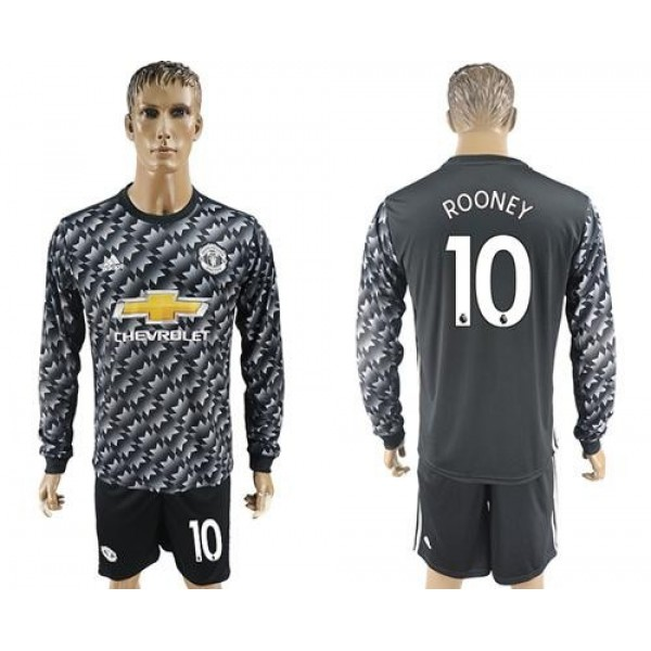 Manchester United #10 Rooney Black Long Sleeves Soccer Club Jersey
