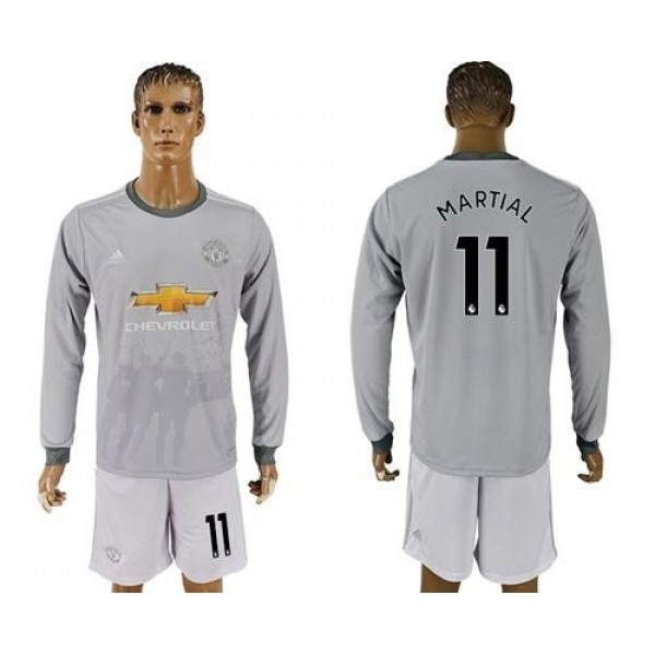 Manchester United #11 Martial Sec Away Long Sleeves Soccer Club Jersey