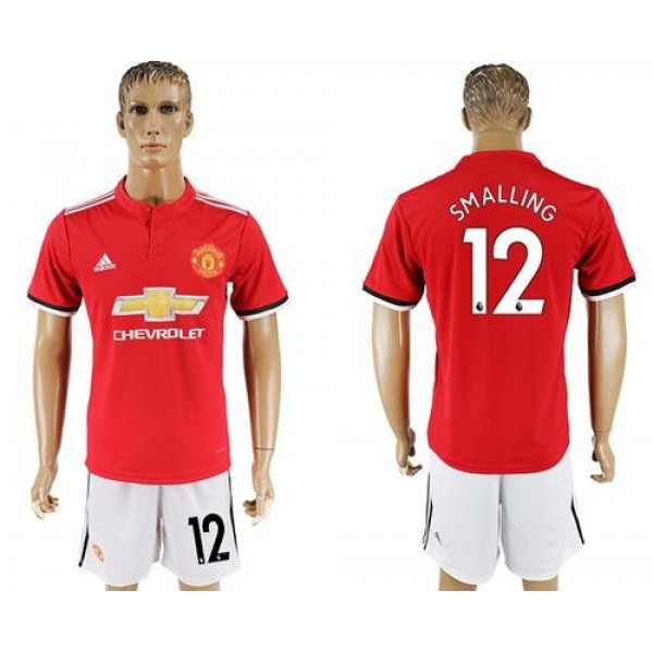 Manchester United #12 Smalling Red Home Soccer Club Jersey
