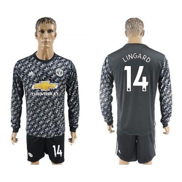Manchester United #14 Lingard Black Long Sleeves Soccer Club Jersey