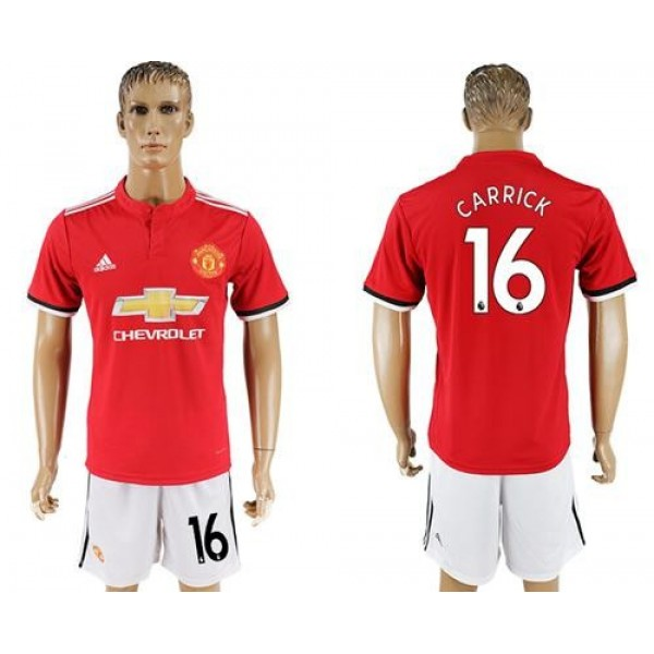 Manchester United #16 Carrick Red Home Soccer Club Jersey